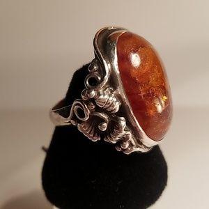 ARTISAN Antique Art Nouveau Baltic Amber Ring